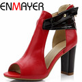 ENMAYER New Fashion Leather Wedding Party Lady Platform Women Summer High Heels Women Pumps and Women's Shoes Size 34-39