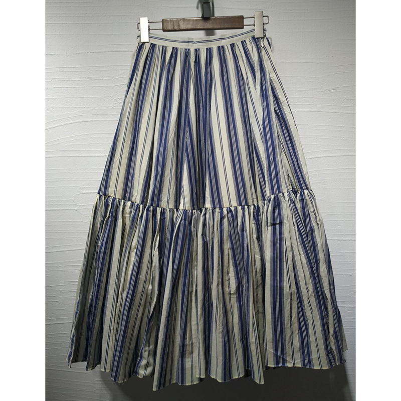 2019 spring summer Casual skirt high quality  cotton Women's Streak pleated stitching  mid length skirt Big swing skirt-in Skirts from Women's Clothing    1
