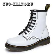 Winter Warm Genuine Leather Martin Boots Botas Feminina Female Motorcycle Boots Fashion Shoes Zapatos Mujer Ankle Boot For Women