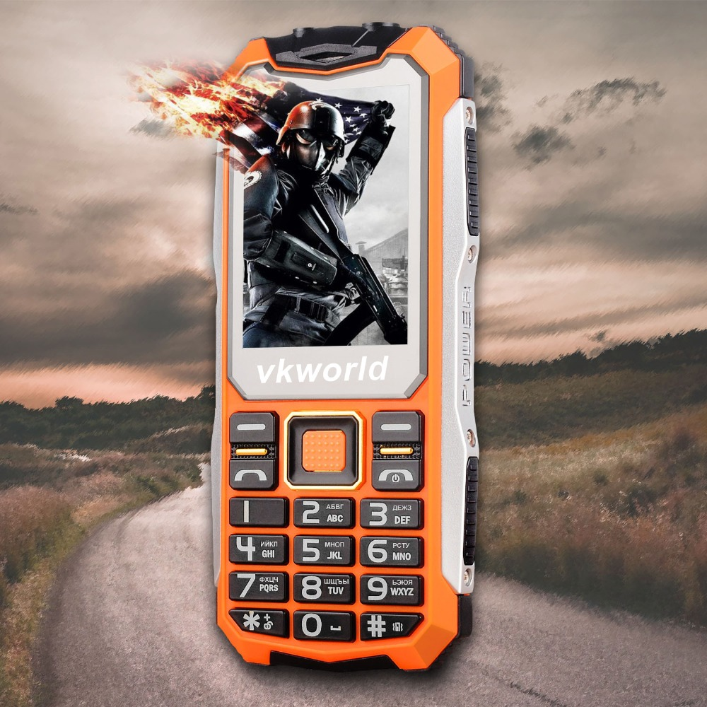 VKWorld Pietra V3S Quotidiana Impermeabile Del Telefono Mobile SPRD 6531D 2.4 pollice Screen Tastiera Russa 2200 mAh Lungo Standby Dual LED