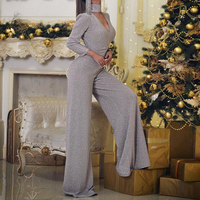 Missord 2019 Autumn Winter Sexy V Neck Long Sleeve Solid Color Glitter Jumpsuit Elegant High Waist Stretch Jumpsuit FT19487