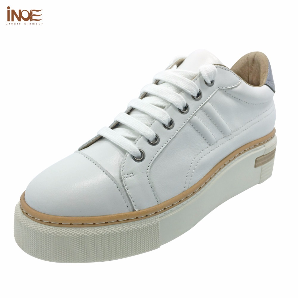 INOE 2018 Spring Autumn new style genuine cow leather fashion sneakers for women casual shoes white flats leisure black shoes asumer white spring autumn women shoes round toe ladies genuine leather flats shoes casual sneakers single shoes