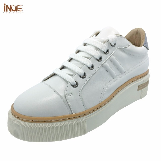INOE 2018 Spring Autumn new style genuine cow leather fashion sneakers for women  casual shoes white flats leisure black shoes b2772bd77704