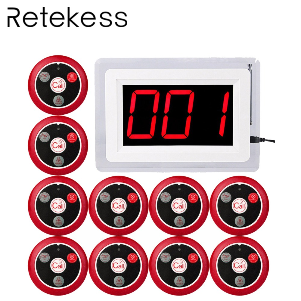 RETEKESS 433MHZ Wireless Pager Calling System for Restaurant Waiter Nurse with Voice Report 1 Host Display + 10 Table Bell F4400B