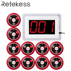 RETEKESS 433MHZ Wireless Pager Calling System for Restaurant Waiter Nurse with Voice Report 1 Host Display+10 Table Bell F4400B
