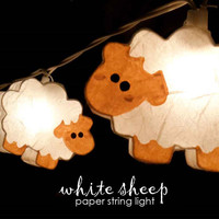 2016 3M 220V 20Pcs Sheep Models Paper String Lighting Night lamp Kid Children Room Decor Holiday lights EU/UK Plug Luminaria