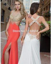 Neue Ankunft 2016 Oansatz Pailletten Prom Dresses Lange Slit Mermaid Backless Abendkleider Sexy Party Kleider Günstige