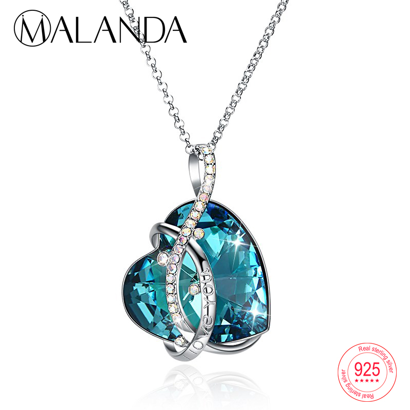 MALANDA I LOVE U Heart shaped Crystal Pendant Sweater Chain Necklaces Women Lover Crystal From Swarovski Sterling Silver Jewelry love heart opening wings shape sweater chain