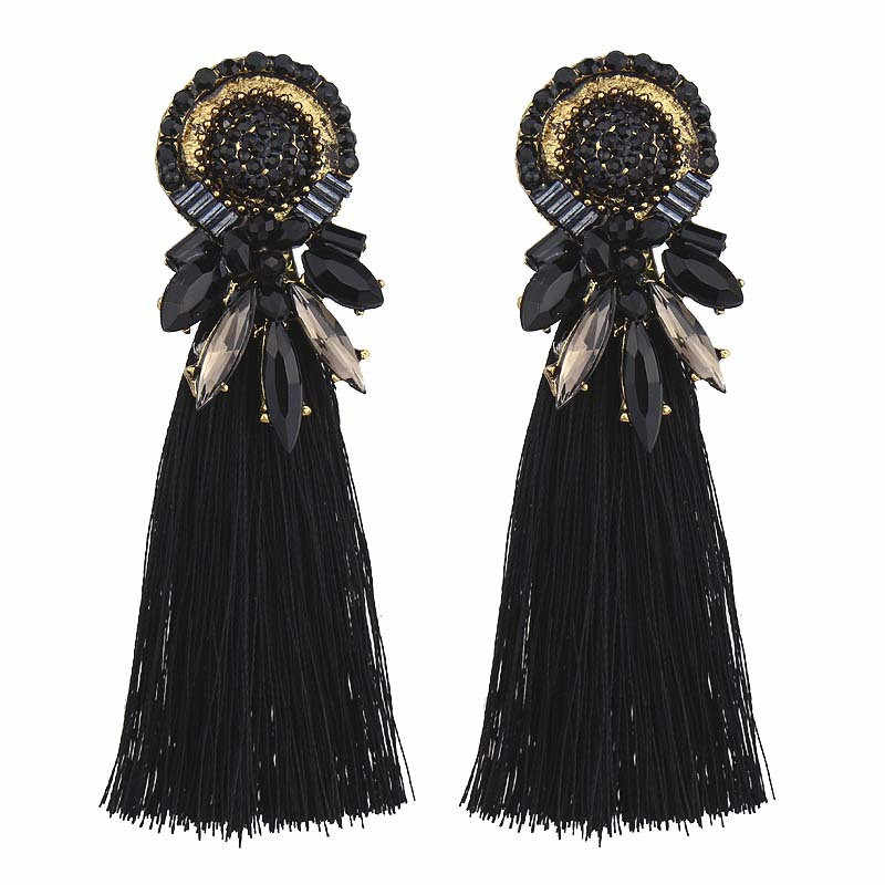 2018 Trendy New Rhinestone Tassel Earrings for Female Vintage Bohemian Fringed Statement Wedding Jewelry 4C1006