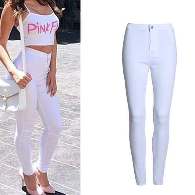 d80b9c36ab1 Модные узкие джинсы женские Femme женские 2016 белые джинсы с высокой  талией узкие джинсы женские яркие