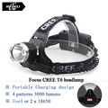 Cree xml t6 glare headlight straight rechargeable flashlight headlamp Waterproof head light 18650 head lamp Cycling Hunting