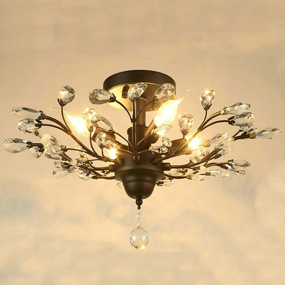 Modern Lustre Clear Glass Led Ceiling Lights Black Fixtures Crystal Iron Ceiling Lamp for Living Room Bedroom Kitchen Home Light lustre flush mount led modern crystal ceiling lamp lights with 1 light for living room lighting free shipping