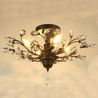 Modern Lustre Clear Glass Led Ceiling Lights Black Fixtures Crystal Iron Ceiling Lamp For Living Room