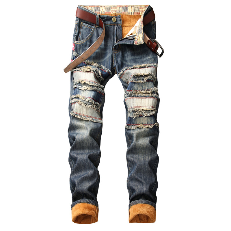 Denim Keep Warm Designer Hole Jeans Men High Quality Ripped For Men Size 38 40 2020 Autumn Winter Plus Velvet HIP HOP Streetwear