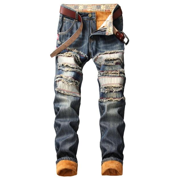 Denim Keep Warm Designer Hole Jeans