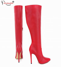 New Design Women Sexy Pointed Toe Over The Knee Genuine Leather High Heel Boots Ladies Casad High Long Boots SMYNLK-10091C