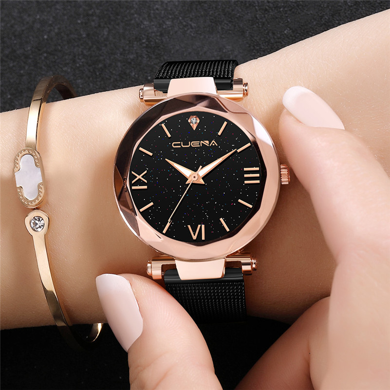 Fashion Women Watches NEW Luxury Gold Black Stainless Steel Watch Leisure Ladies Quartz Starry Wrist Watch Gift Montre Femme /C