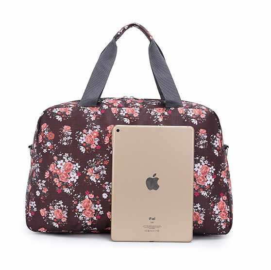 Rose พิมพ์กระเป๋าเดินทางกระเป๋าถือผู้หญิงแบบพกพาพับวันหยุดสุดสัปดาห์ duffle กระเป๋าผู้หญิงเดินทางกระเป๋าเดินทางกระเป๋า bolsa sac