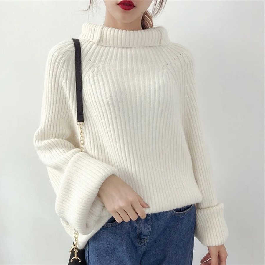 cadd265bc99c2 Autumn Winter Turtleneck Sweater Thick Warm Knitwear Pullover High  Elasticity Soft Female Knitted Sweater Jumper Women