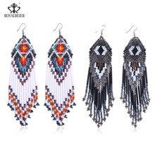 ROYALBEIER Bohemian Handmade Beaded Long Tassel Earrings For Women Jewelry Multicolor Beads Statement Earrings Ethnic Drop bohemian beaded tassel drop earrings