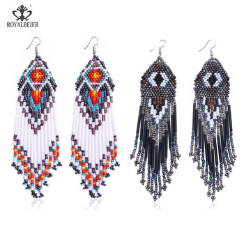 ROYALBEIER Bohemian Handmade Beaded Long Tassel Earrings For Women Jewelry Multicolor Beads Statement Ethnic Drop