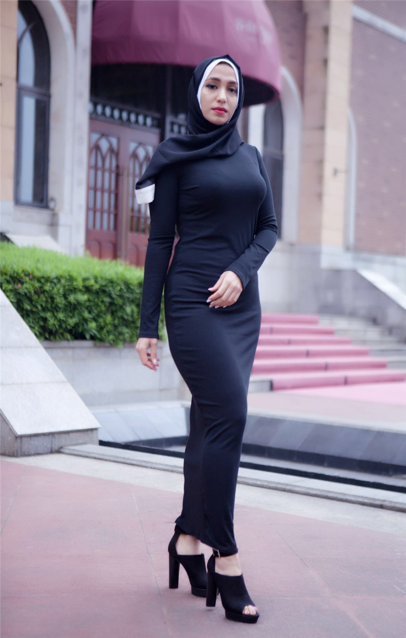 2018 muslim Adult Casual knit Robes Musulmane Turkish black white Muslim Abaya Dress Robes Arab Worship Service abayas Wj2312