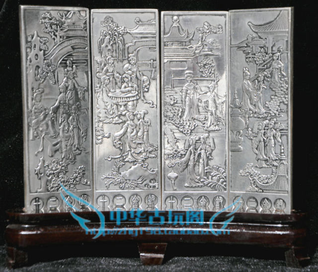 Chinese collection Tibetan silver carving beauty folding screenChinese collection Tibetan silver carving beauty folding screen