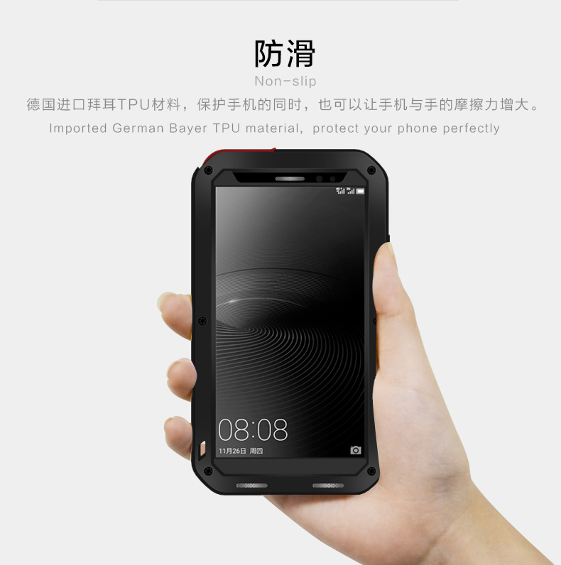 new concept c4b3f c6b67 US $39.13  Waterproof Cover for Huawei Mate 8 Case Metal Aluminum Armor  Luxury Brand ShockProof Case With Gorilla Glass for Mate 8 Case-in Fitted  ...