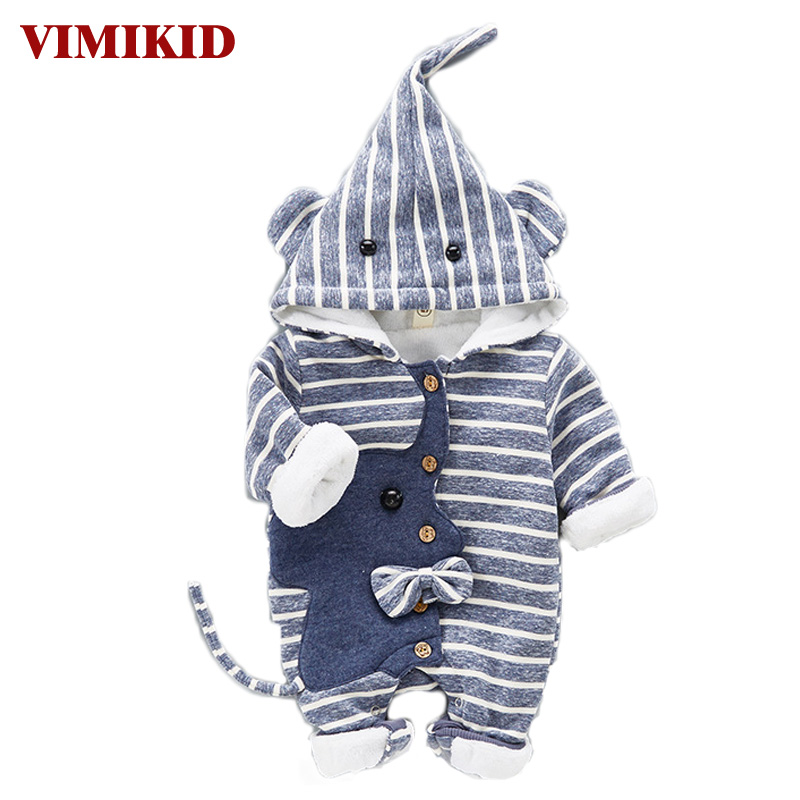 Cute Elephant Hooded Baby Rompers for Babies Boys Girls Clothes 2017 Autumn Newborn Clothing Stripe Cotton Jumpsuit Baby Outfit baby rompers love mama papa boys girls babies clothes newbron cotton clothing with hat one pieces body suit
