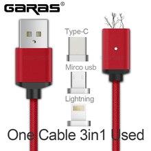 Тип USB C/Micro USB/Lightning 3in1 Магнитный кабель USB-C Тип-C Быстрая Зарядка адаптер магнит кабель для IPad Кабели для мобильных телефонов