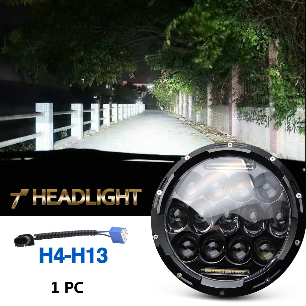 75w Led Headlight 7inch Round High Low Beam DC 12v 24v External Lights for Off Road 4x4 Jeep Wrangler Jk Tj Lada Niva 7 inch round led headlight 12v eyes lights led high low headlight 7 inch