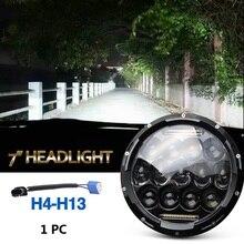 75w Led Headlight 7inch Round High Low Beam DC 12v 24v External Lights for Off Road 4×4 Jeep Wrangler Jk Tj Lada Niva