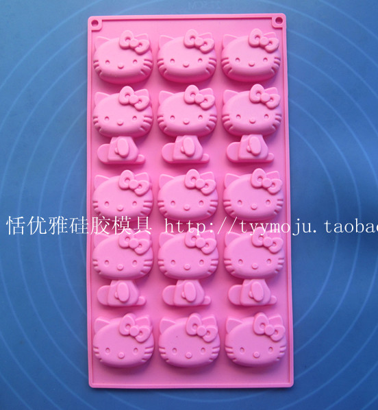 Wholesale/retail,free shipping, 1 PCS 15 hole hello kitty cat clay Cake Mold Jelly pudding KT Chocolate mold