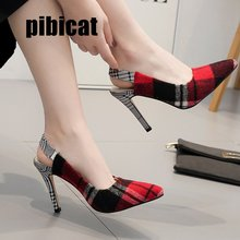 checkered shoes high heels sandals womens office Dress Stilettos closed toe blue pointed 2019