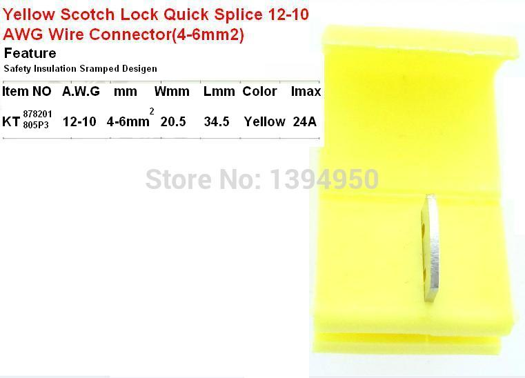 Free shipping 50PCS yellow Scotch Lock Quick Splice 12 10 AWG Wire ...
