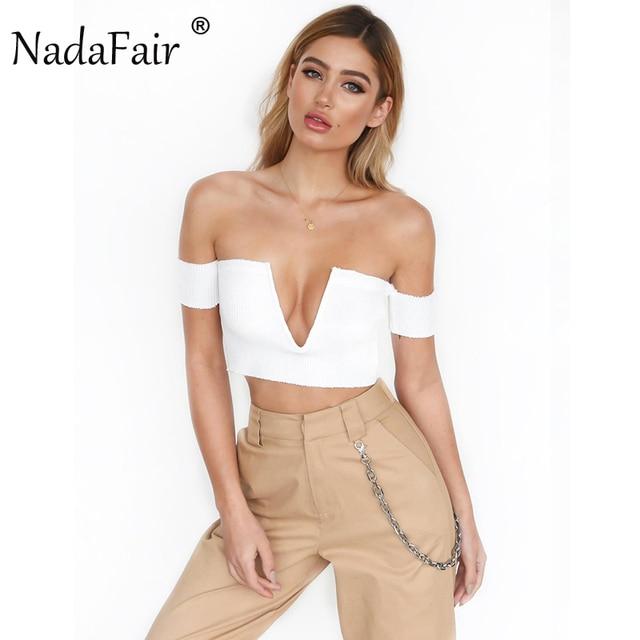 2e198276dd Nadafair Short Sleeve Off Shoulder V Neck Skinny Sexy Club T Shirts White  Black Cotton Knitting