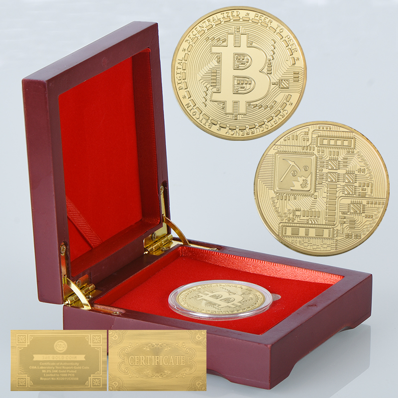 WR Original Gold Bitcoin Silver Colorful Bit Coin with Red Wooden Gift Box for Business or Birthday Gift