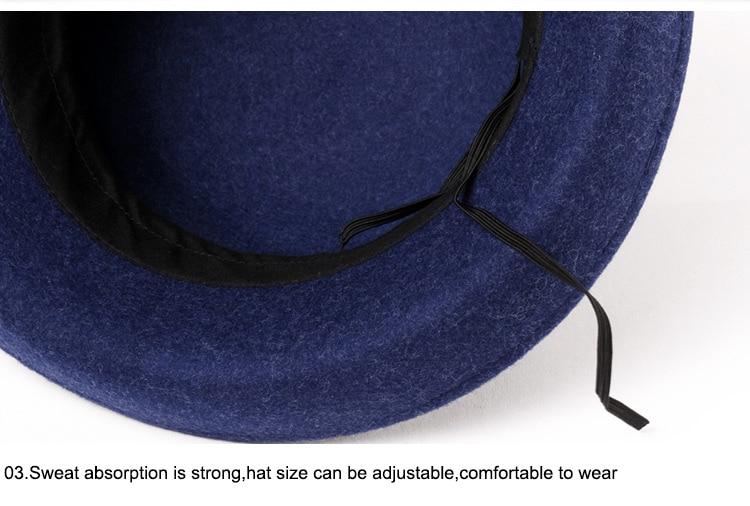 7_Vintage Wide Brim Hats Felt Women Navy Blue Wool Fedora Warm Ladies Bowknot Top Cloche Hat 2018 Chapeau Femme
