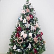 5PCS Kawaii Christmas Plush Pendants Creative Love Heart Tree Decor Star Ornament Party Gift Home Decoration