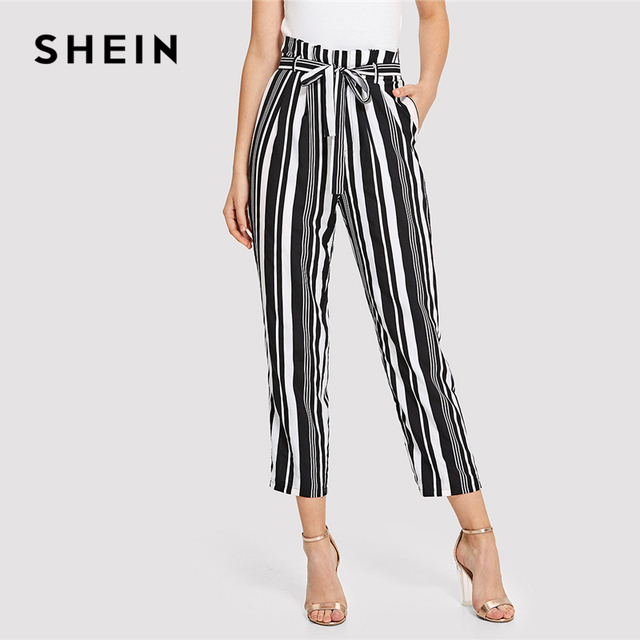 664b6d5329 SHEIN Black and White Minimalist Office Lady Workwear Self Belted  Vertical-Stripe Peg Leg Pants