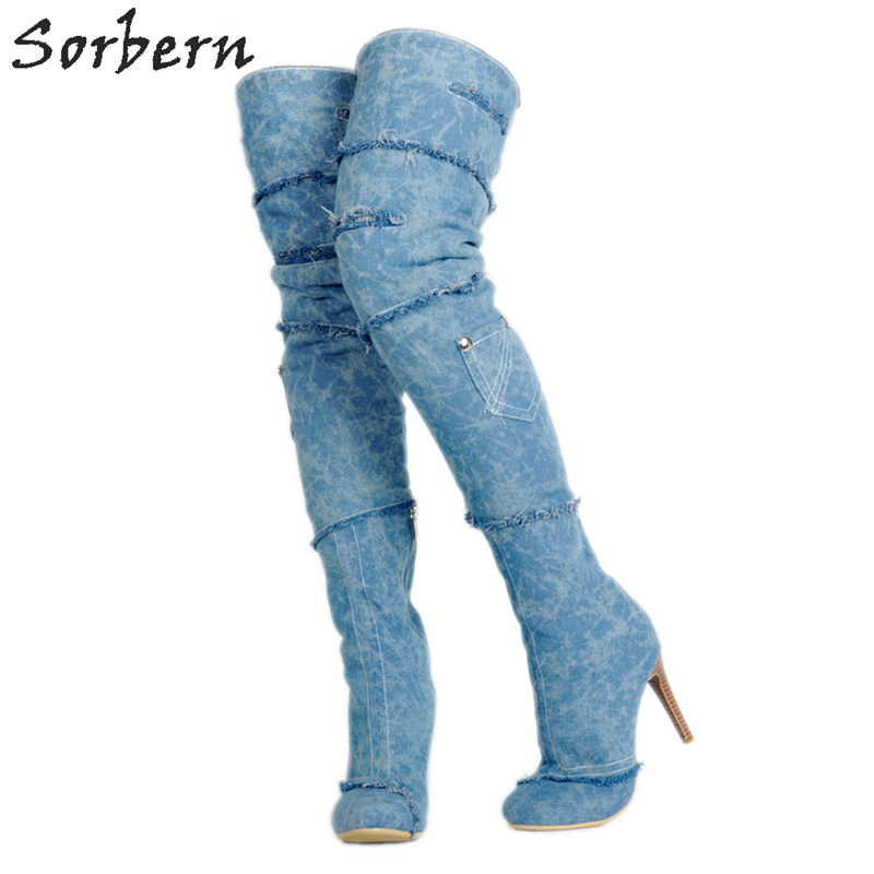 Sorbern Blue Denim Women High Boots Plus Size Ladies Party Boots Custom Made Color 34-48 Fashion Boots