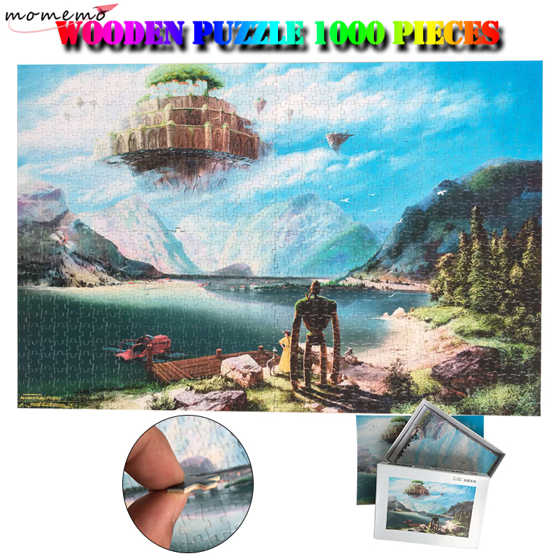 MOMEMO Laputa:Castle In The Sky Wooden Puzzles 1000 Pieces Hayao Miyazaki Anime Jigsaw Puzzles 1000 Pieces Adults Puzzle Games