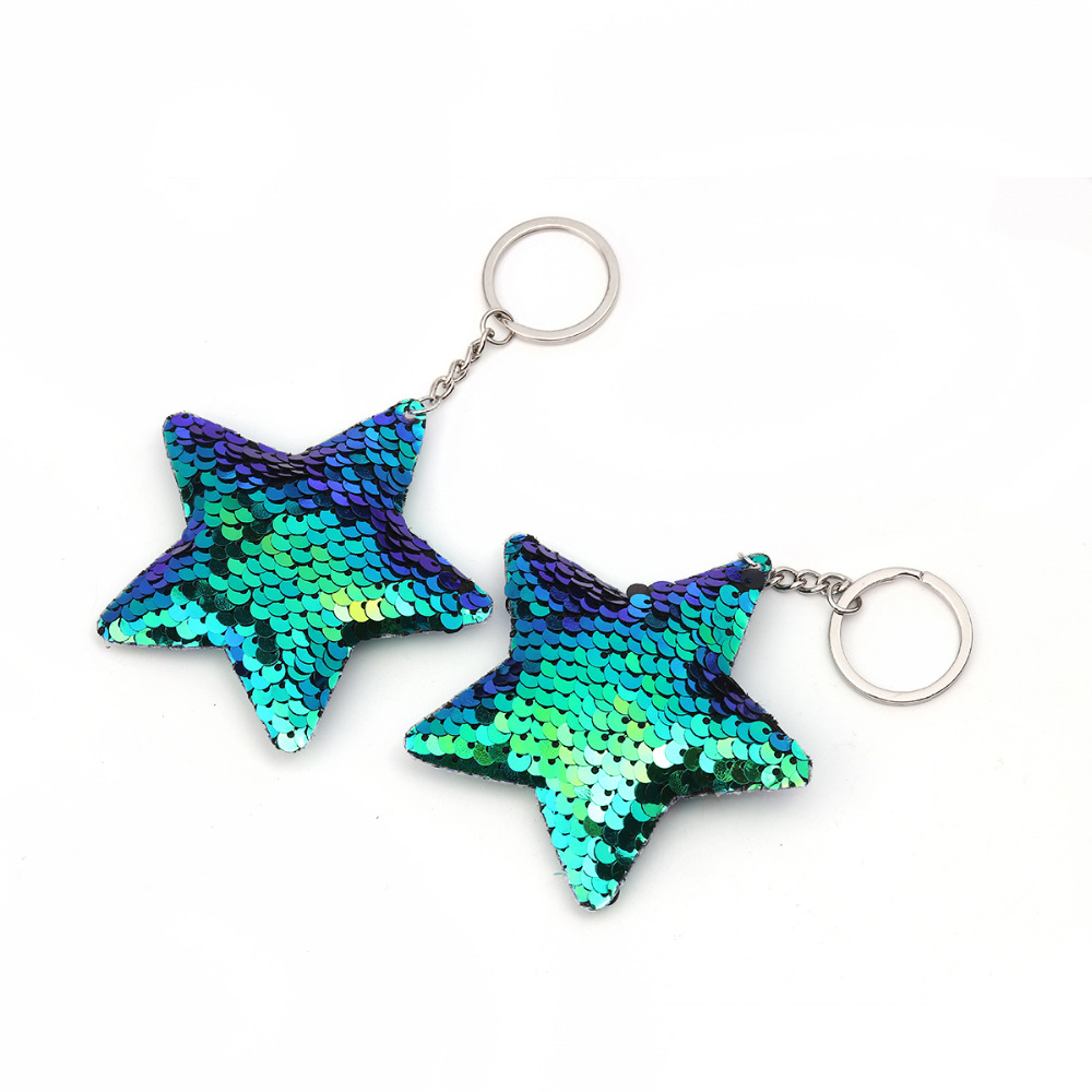 Detail Feedback Questions about Doreen Box PVC Paillette Sequin Keychain  Keyring Pentagram Star Dull Silver Blue Red Color Couple Key Ring 13.5cm 2  PCs on ... 456c9c555776