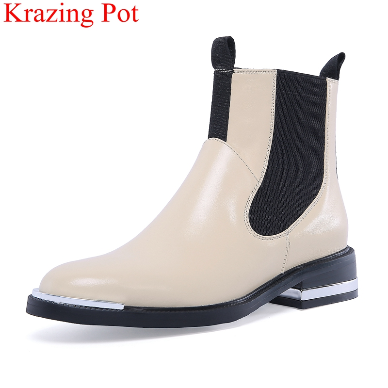 Krazing Pot 2018 new cow leather round toe solid color ankle boots elastic band square heel sweet office lady winter shoes L0f5 krazing pot winter kid suede cow leather patch work high heel basic boots winter zipper round toe office lady ankle boots l12