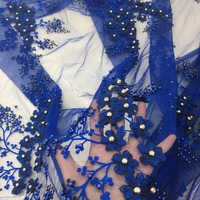royal blue lace fabric 3d flowers with diamonds and beads 5 yards embroidered trims lace for sewing beautiful skirt design
