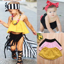 Pudcoco 2018 Infant Baby Girls Summer Tube Tops T-shirts Newborn Girls Casual Tees Shirts Sleeveless Off Shoulder Girls T-shirts(China)