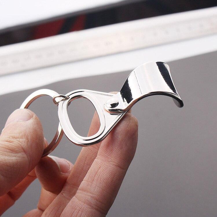 Stainles Steel Bottle Opener Can Tab Ring-Pull Beer Bottle Cap Openers Keyring