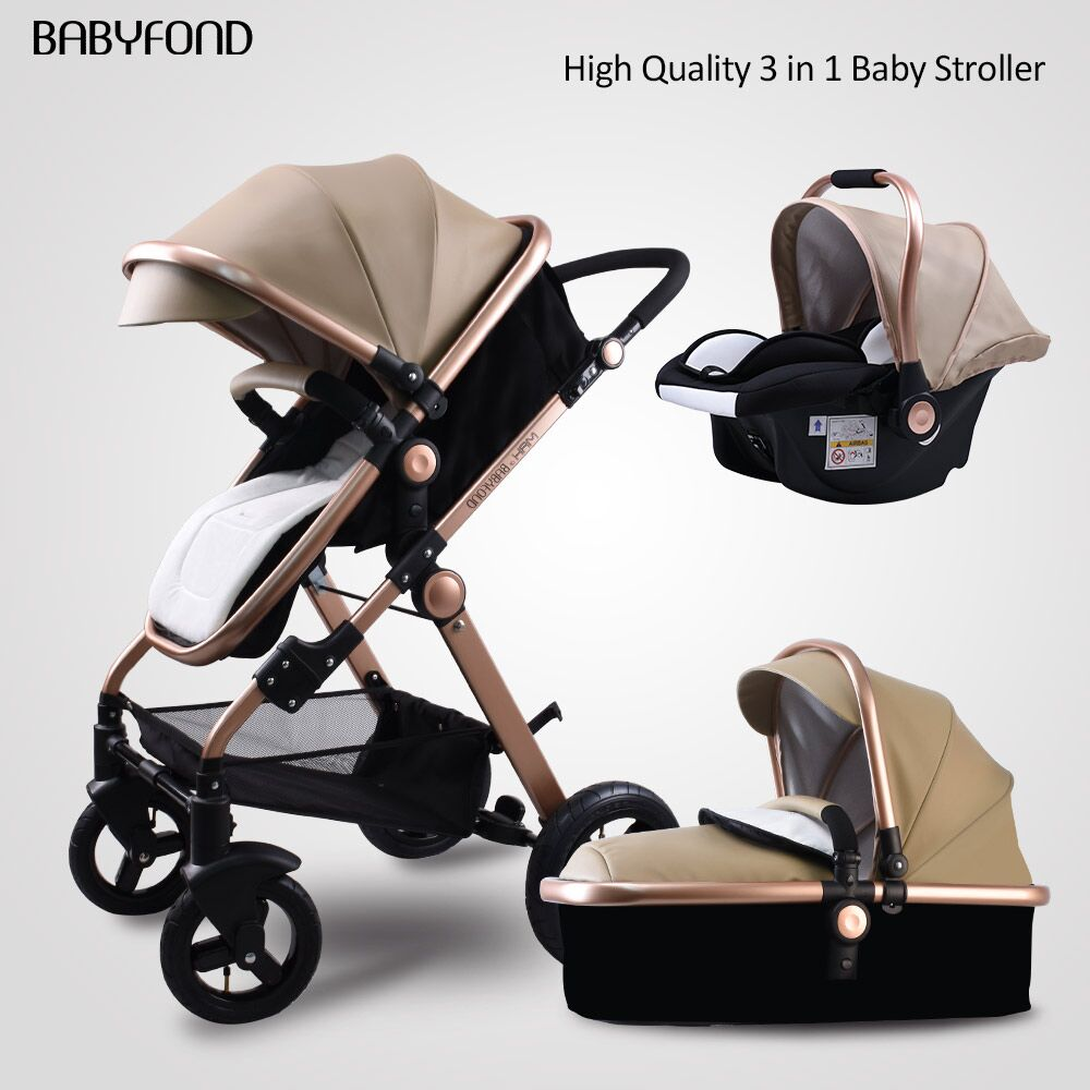 Babyfond black 3in1 Stroller 2019 Reversible Seat Push Handle Luxury leather baby strollers 0-4 years old High landscape