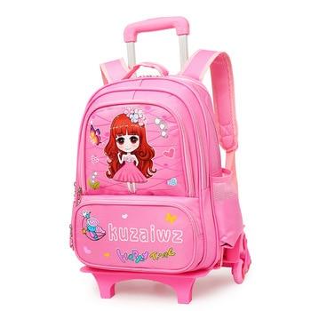 Children Trolley School Bag princess school Backpack Wheeled School Bag For Grils Kids Wheel Schoolbag Student Backpacks Bags
