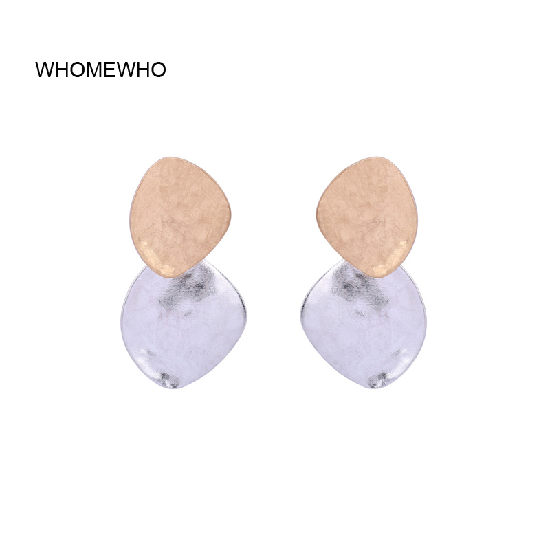 2019 Two Tone Matte Gold Silver Hammered Metal Minimalist Earrings Fashion Women Bridal Party Accessory Club Jewelry Ear Jewels